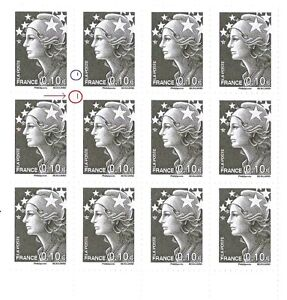 TIMBRE-VARIETES-MARIANNE-BEAUJARD-0-10-GRIS-Probleme-Perforation