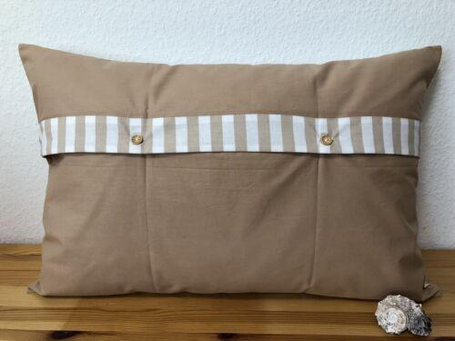 1 Maritime Kissenhülle *Kissenbezug*Landhausstil* Ahoi beige//weiß 40x60cm.