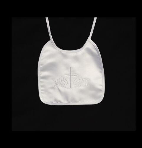 New Baby Boys Girls White Bib Christening Baptism Dedication Baby Shower Gift