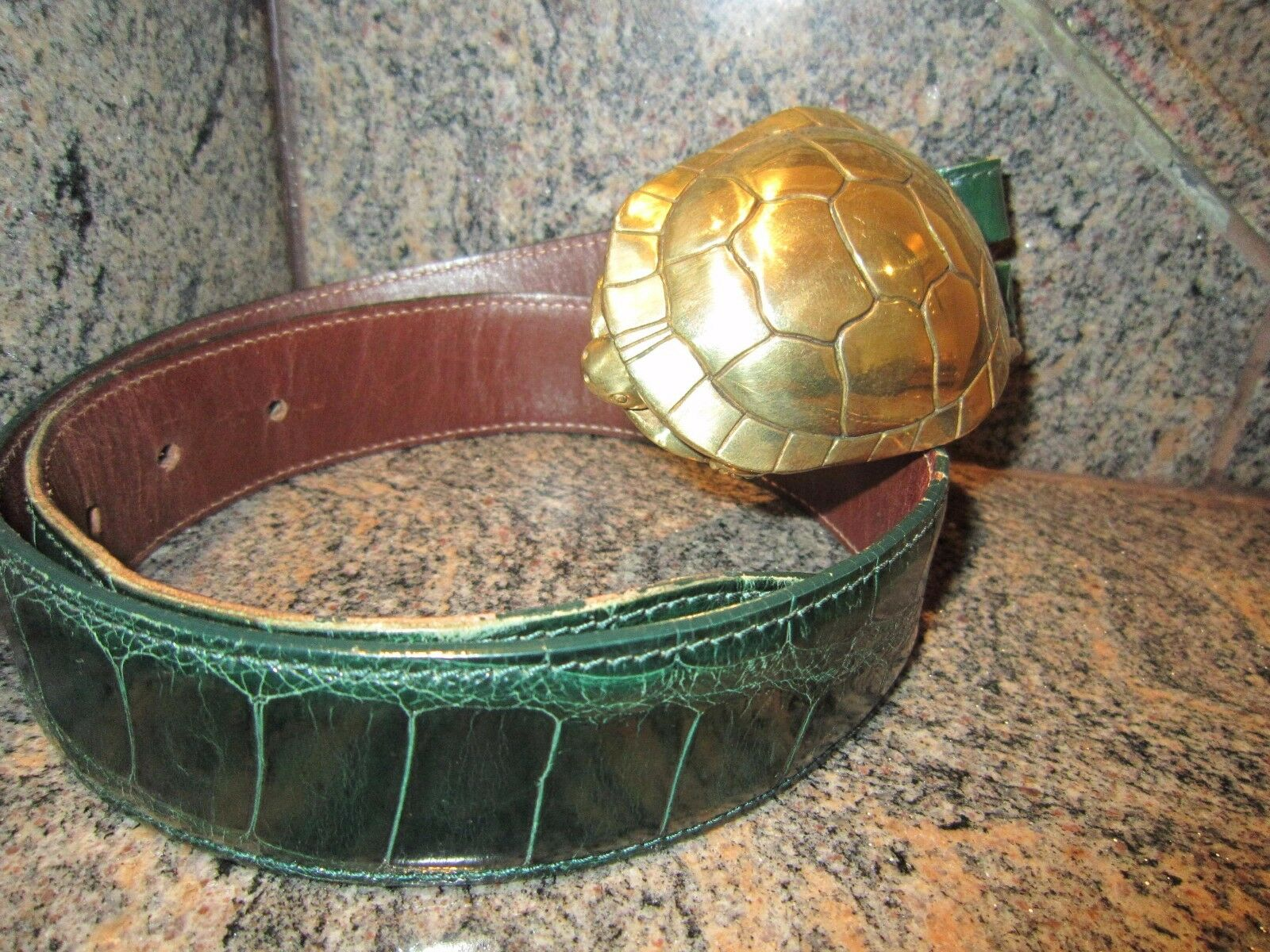 !! rara!!! enorme Kieselstein Cord arte de bronce con Hebilla de Cinturón de cocodrilo de tortuga