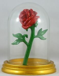 Red-Rose-in-Glass-Vtg-Disney-Beauty-and-the-Beast-by-M-Z-Berger-amp-Co-Rare