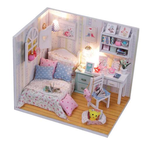 Miniature Dollhouse Kit en Bois Belle Chambre avec Lumière LED Fait à la