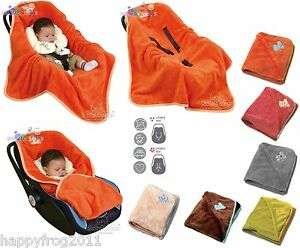 Baby Car Seat Microfibre Wrap Blanket Cosytoes Cover Hoodie With