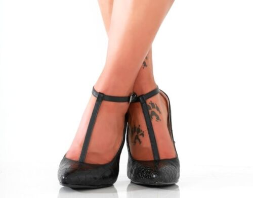 Uk4 Pleaser Eu37 Fetish 5 Tacchi Giaro Sexy Black Shoes Drag Strappy Tv alti 4 Cd zqEPtw