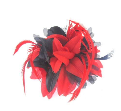 Ladies Day Races Red and navy fascinator clip for Ascot Weddings
