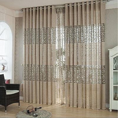 Leaf Tulle Door Window Curtain Drape Panel Sheer Scarf Valances Reliable