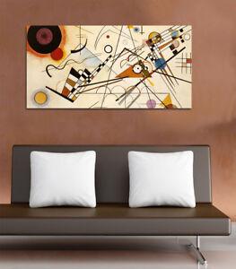 Quadro-moderno-Stampa-su-Tela-Cotone-cm-120x60-Astratto-Kandinsky-L-Arredo-Casa