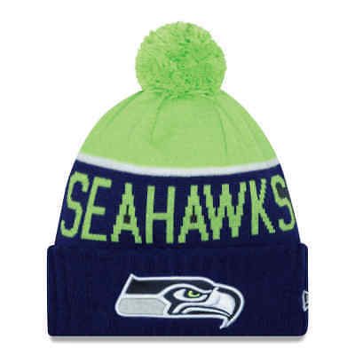 3c982cf6d Seattle Seahawks New Era NFL Official On-Field Sideline Pom Knit Winter Hat
