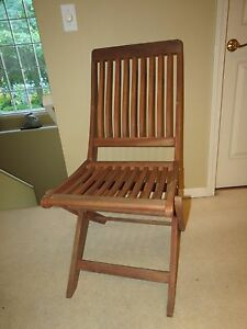 Vintage Solid Teak Wooden Folding Chair With Slat Seat Back