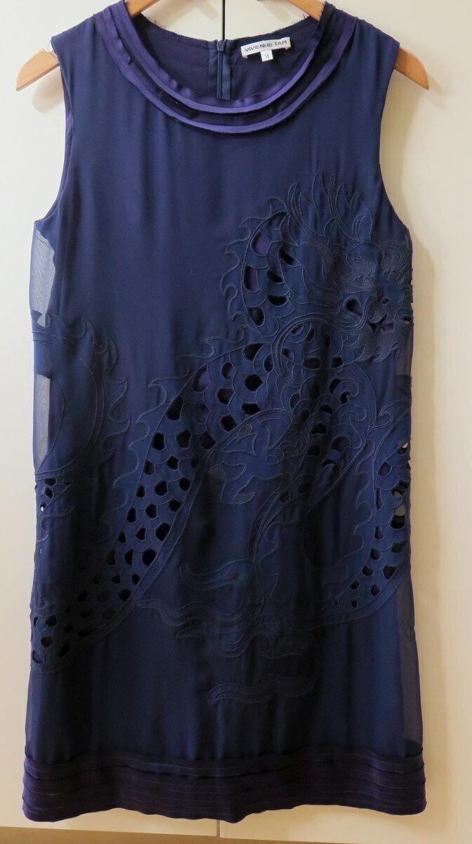 Pretty Silk Navy Appique Embroidered Pattern Dress from Vivienne Tam Tam Tam - Size M ab4bcb