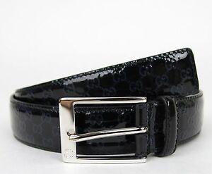401f6329b598 New Gucci Men s Lux Black Guccissima Patent Leather Belt w Blue GG ...