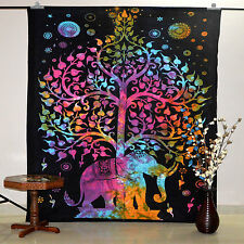 Tree Of Life Elephant Twin Tapestry Wall Hanging Cotton Bedspread Table Cover