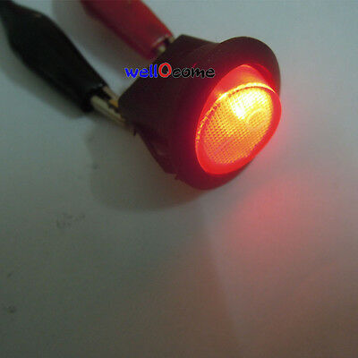 10Pcs Red Lighted 12V 16A Car Boat Auto Round Rocker ON/OFF SPST Switch