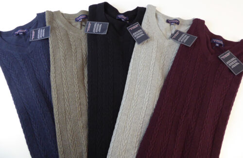 Roundtree /& Yorke V-Neck Cable Knit Cotton Wool Sweater Vest $59.50 NWT 5 Colors