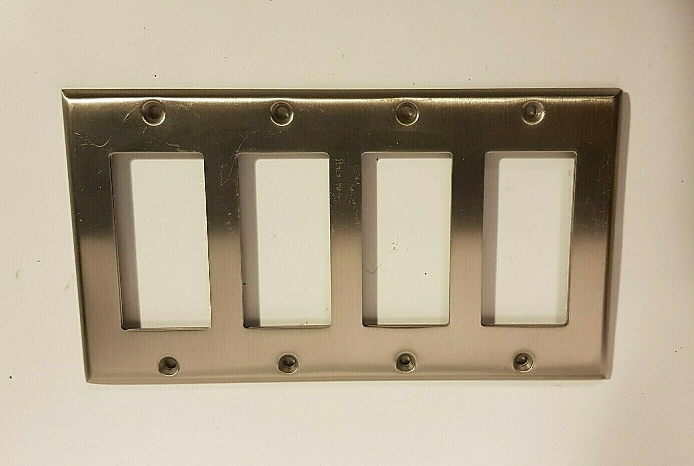 Wall Light Switch Plate Rocker Toggle Cover Brushed Nickel 4 Gang Ebay