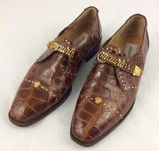 MAURI Alligator Lion Medallion Gold Stud Cognac Men's Shoe Sz 8.5M