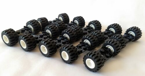 20 tires//10 axles 10 SETS of LEGO WHEELS car truck lot vehicle white