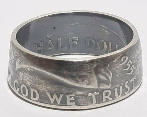 """* 1955  Sizes 8-15 Silver half dollar coin ring /"""" In God we trust /"""" /""""Liberty/"""""""