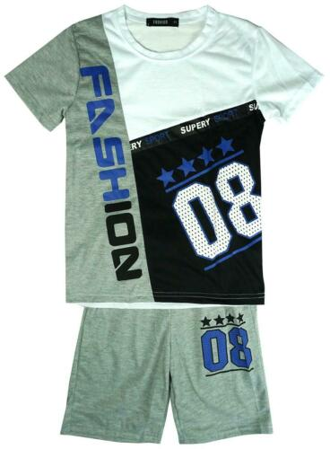 Boys Shorts Top College 08 Fashion Outfit T-Shirt Set Summer Kids 2 to 14 Years