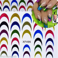 Neon Nail Art Stickers French Tips Guides Sticker DIY Stencil Manicure Tools