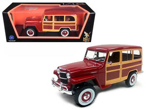 1955 Willys Jeep Station Wagon 1:18 Diecast Model Toy - Burgundy 92858BUR