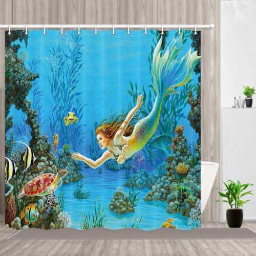Mermaid and Turtle Shower Curtain Bathroom Decor Fabric /& 12hooks 71x71in