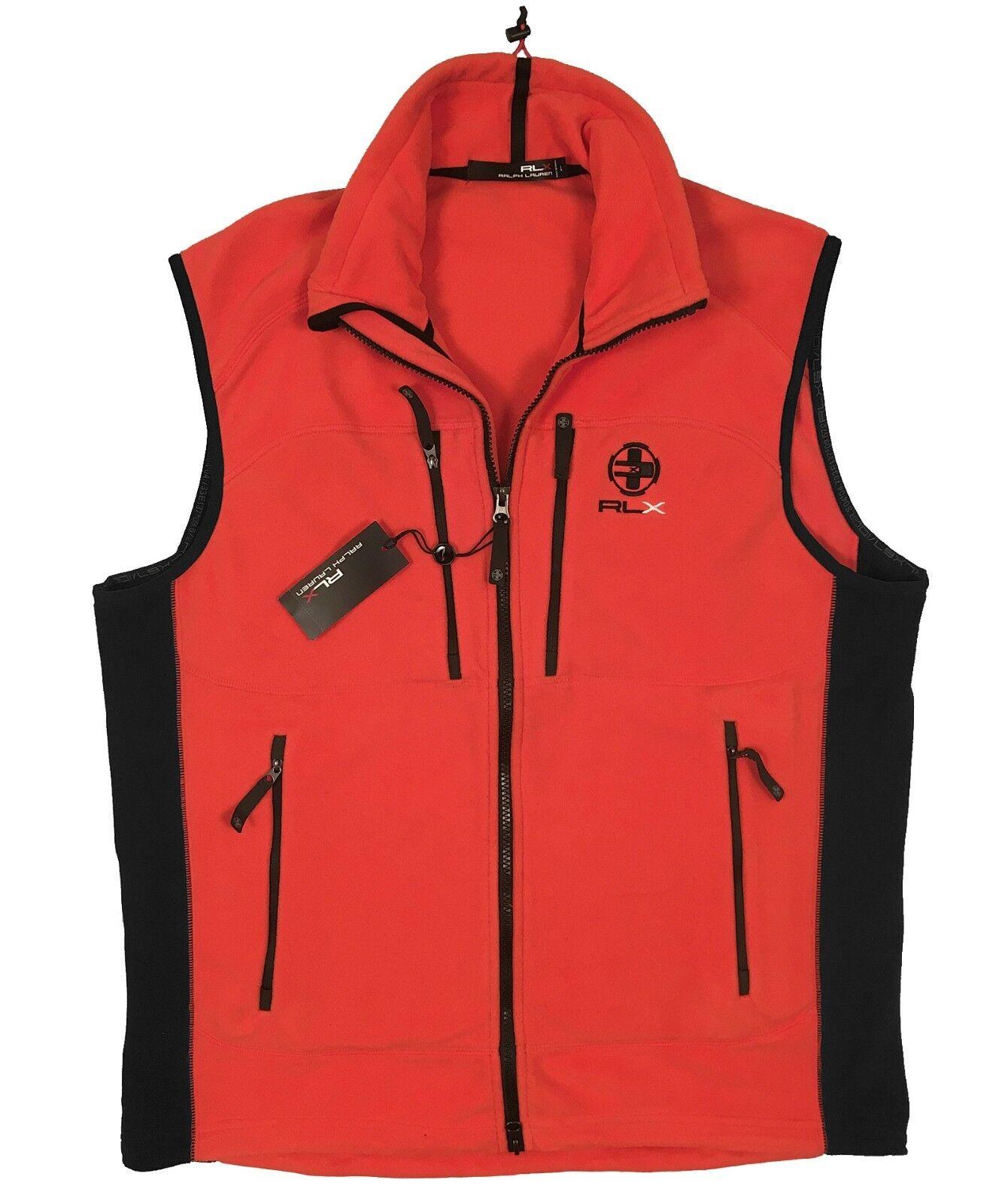 NEW  Ralph Lauren RLX Fleece Vest   RLX on Front  orange or Bright Green