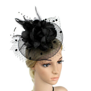 Women-039-s-Fascinator-Hat-Feather-Flower-Headdress-Wedding-Bridal-Mesh-Headbands