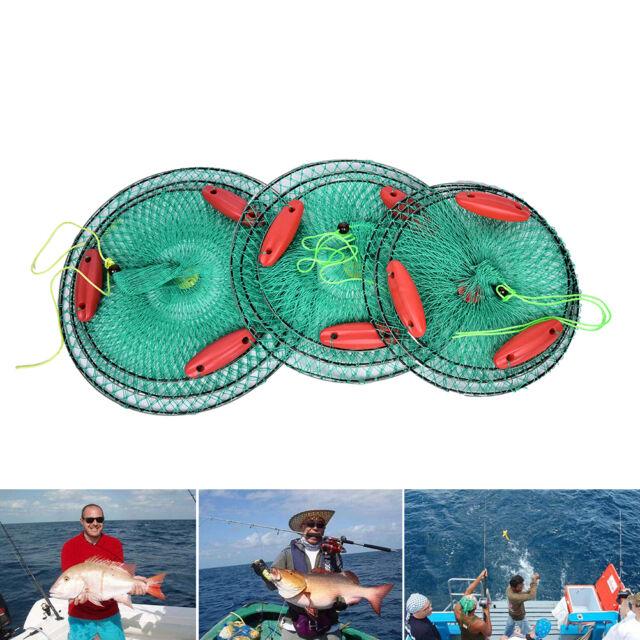 Folding Round Crab Fish Care Nylon Mesh Foldable 3 layers with 3 Floating CrabFx