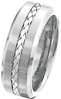 Luxury 925 Silver Inlay Mens Tungsten Carbide Wedding Engagement Ring 8mm