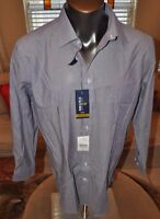Stafford Men's Easy Care Broadcloth Travel Purple Pinstripe Shirt Mult Sizes
