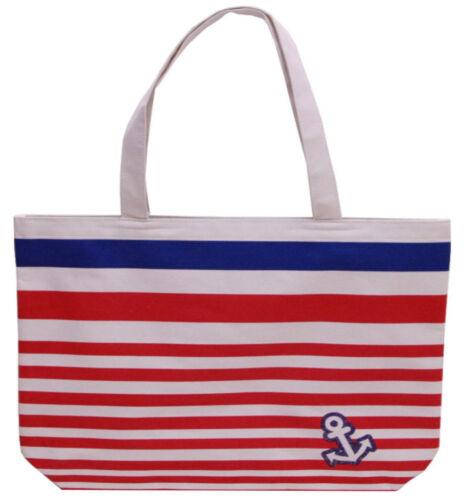 Black or Blue Pink Striped Carrier Shopping Shoulder Beach Bag
