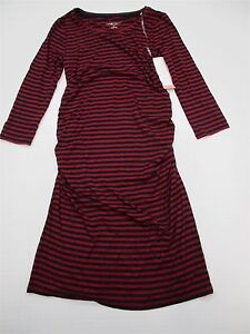 new-LIZ-LANGE-MATERNITY-DR1019-Women-039-s-Size-XS-Fitted-Bodycon-Red-Striped-Dress