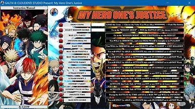 My Hero One S Justice Cheats Trainer Mod Codes Software Free Update Lifetime Ebay