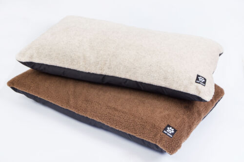 Cream /& Brown Fleece Topped Dog Mattress Pet Bed COVER ONLY  ** MADE IN UK **
