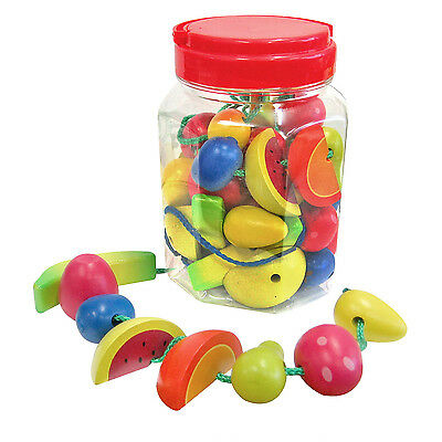 Wooden Lacing Fruit - 34 Pieces also great for pretend play - preschool