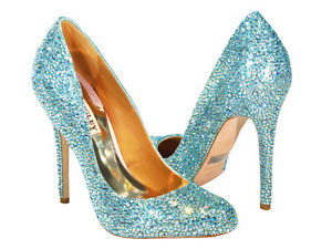 Image Is Loading Nib Badgley Mischka Blue Swarovski Crystal Wedding Shoes