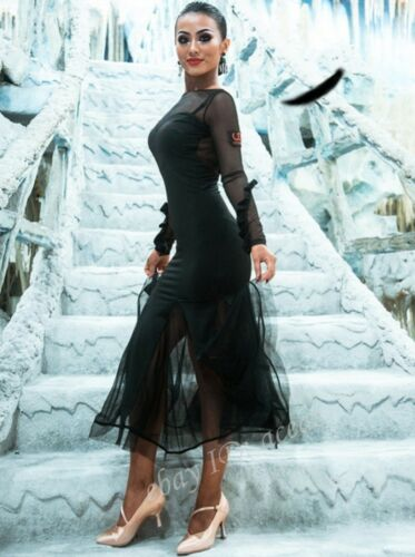 Women Backless Latin Dance Dress Modern Rumba Samba Cha Cha Competition Ballroom