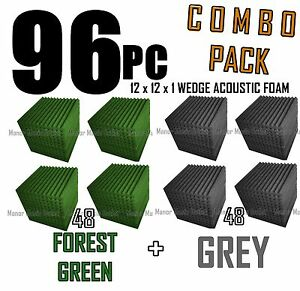 ComBo-96-pack-FOREST-GREEN-GREYAcoustic-Wedge-Soundproofing-Foam-12x12x1-tile