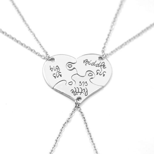 3pc puzzle heart big middle little sis family gift sister pendant sister pendant necklace bff 5 aloadofball Image collections