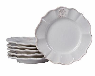 6er Dessertteller 20cm Landhaus Geschirr Kuchenteller Weiß Porzellanteller Tafel