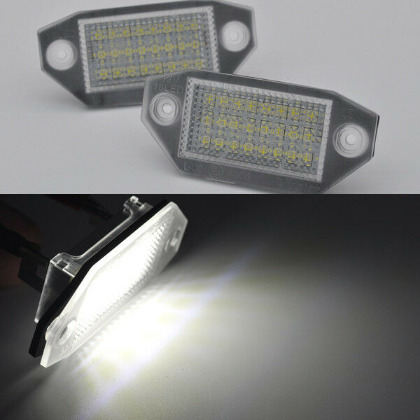 2x Exact Fit White 18-LED License # Plate Lights For Ford Mondeo mk3 2000-2007