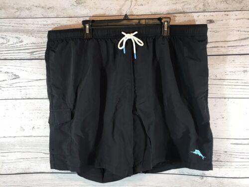 Tommy Bahama Mens Black Swim Trunks Shorts Logo Size XXL 2XL NWT