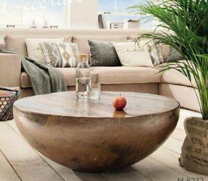 Vintage Minimalist Iron Drum Coffee Table Round Coffee Table Reclaimed Wood New Ebay