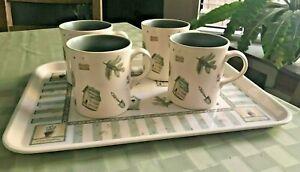Pfaltzgraff-Naturewood-Set-4-Coffee-Cups-Mugs-amp-Serving-Tray-Gardening