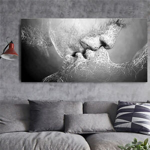 Image Is Loading Black Amp White Love Kiss Abstract Painting Canvas