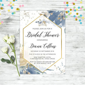 BRIDAL-SHOWER-INVITATIONS-PERSONALISED-FLORAL-INVITE-BLUE-GOLD-FLORAL-HENS