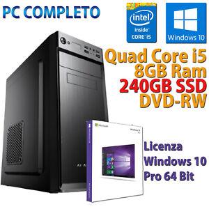 PC-FISSO-COMPUTER-NUOVO-ASSEMBLATO-DESKTOP-QUAD-CORE-i5-8GB-SSD-240GB-WINDOWS-10