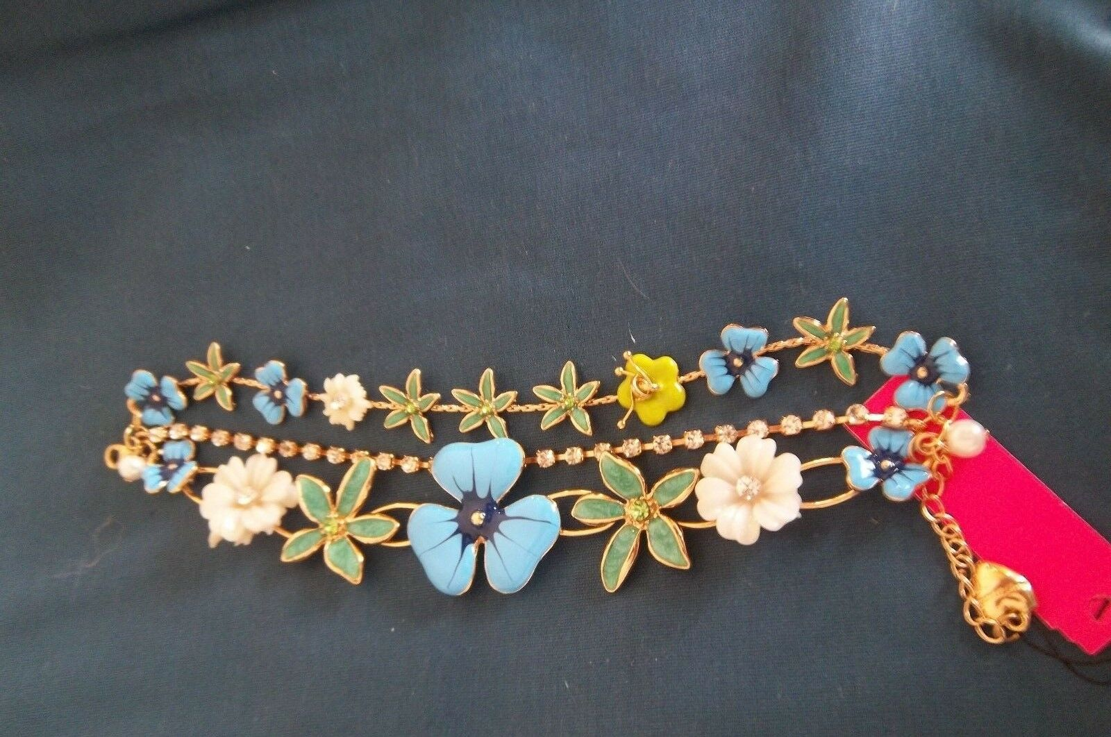 Betsey Johnson bluee Flowers - 3D Multi Chain  Bracelet