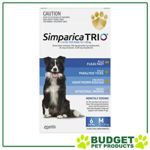 Simparica TRIO For Dogs 10.1- 20kg Blue Medium 6 Chews
